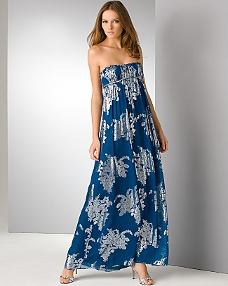 aidan_mattox_blue_long_strapless_foil_print_dress
