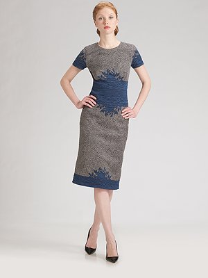 carolina-herrera-woven-jacquard-short-sleeve-dress
